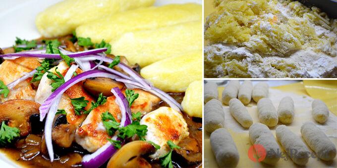 Recept Kuřecí soté s houbami a bramborovými šiškami